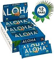 ALOHA Organic Plant Based Protein Bars |Caramel Sea Salt | 12 Count, 1.9oz Bars | Vegan, Low Sugar, Gluten Free, Paleo, Low