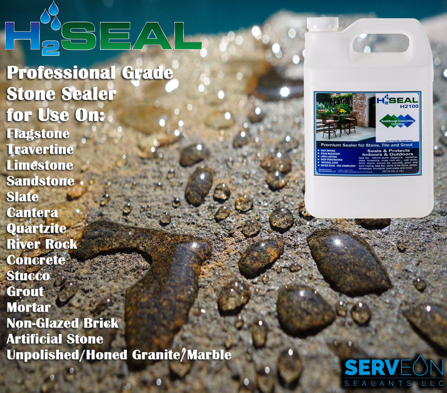 Serveon sealants h2seal h2100 stone sealer professional grade serveon sealants h2seal h2100 stone sealer professional grade for natural stone grout brick tile and artificial stone 1 gallon stone sealer dailygadgetfo Image collections