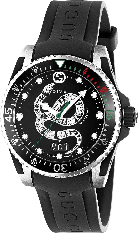 Gucci Reloj de Buceo de 40 mm de Caucho Negro de Acero YA136323