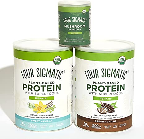 Four Sigmatic Superfood Organic Plant-Based Protein with Chaga Mushroom & Ashwagandha, Canister, Sweet Vanilla and Creamy Cacao, and Four Sigmatic Mushroom Blend, 10 Mushroom Blend Mix