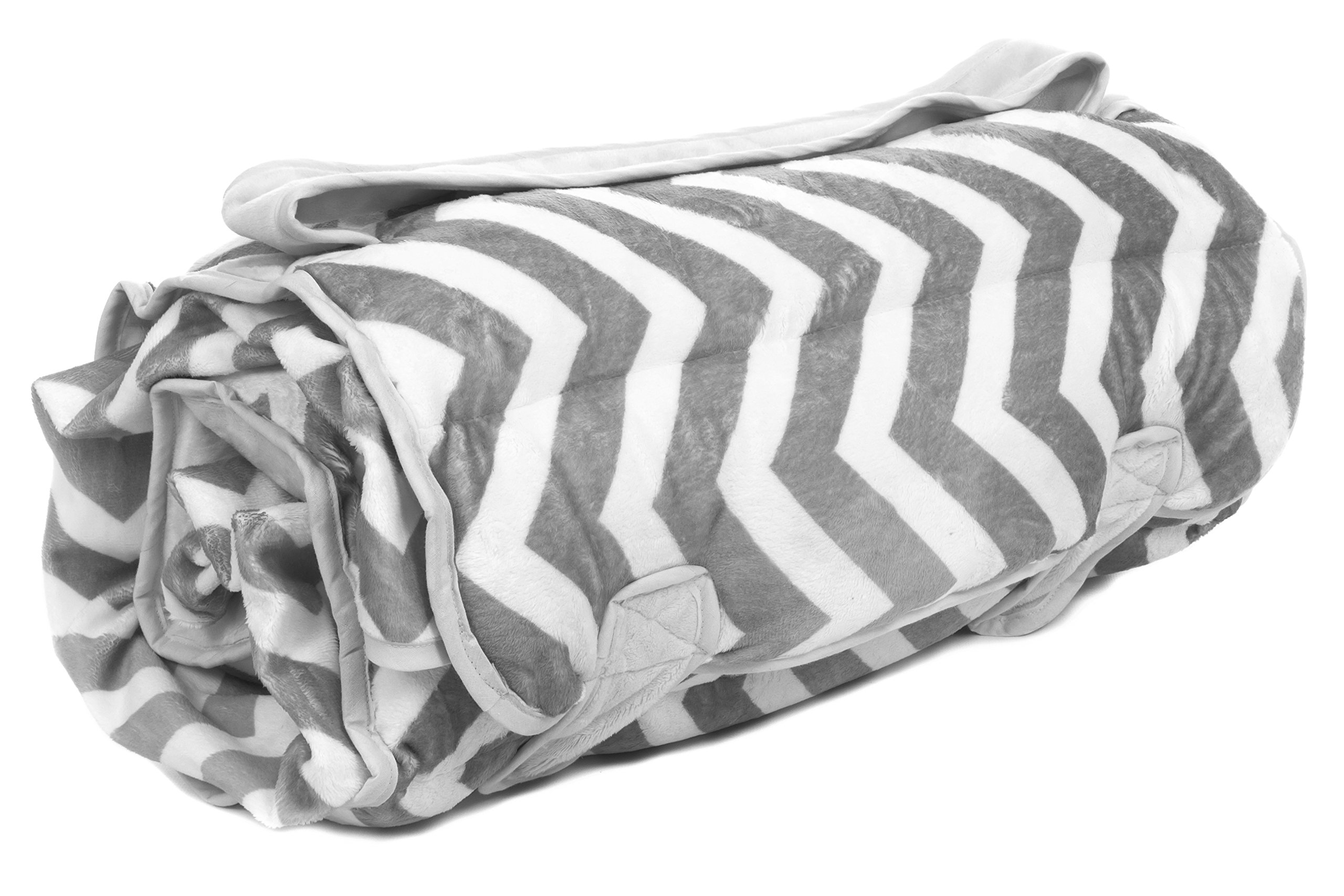 Ozark Mountain Kids Nap Mat - Includes Mat, Blanket, and Pillow - Portable - Machine Washable - Grey Chevron