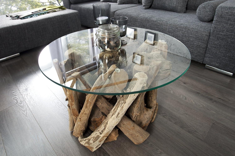 Dunord Design Couchtisch Rund Treibholz Massiv Glastisch 60cm Glas
