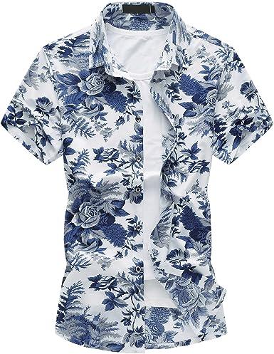 MOGU Hombres Casual Estampado de Flores Hawaianas Moda Slim Fit Manga Corta Camisas: Amazon.es: Ropa y accesorios