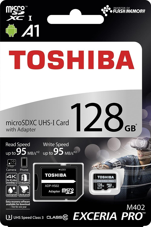 95MB//s UHS-I U3 A1 Classe 10 Toshiba M402 scheda di memoria microSDXC Exceria Pro 128GB adattatore