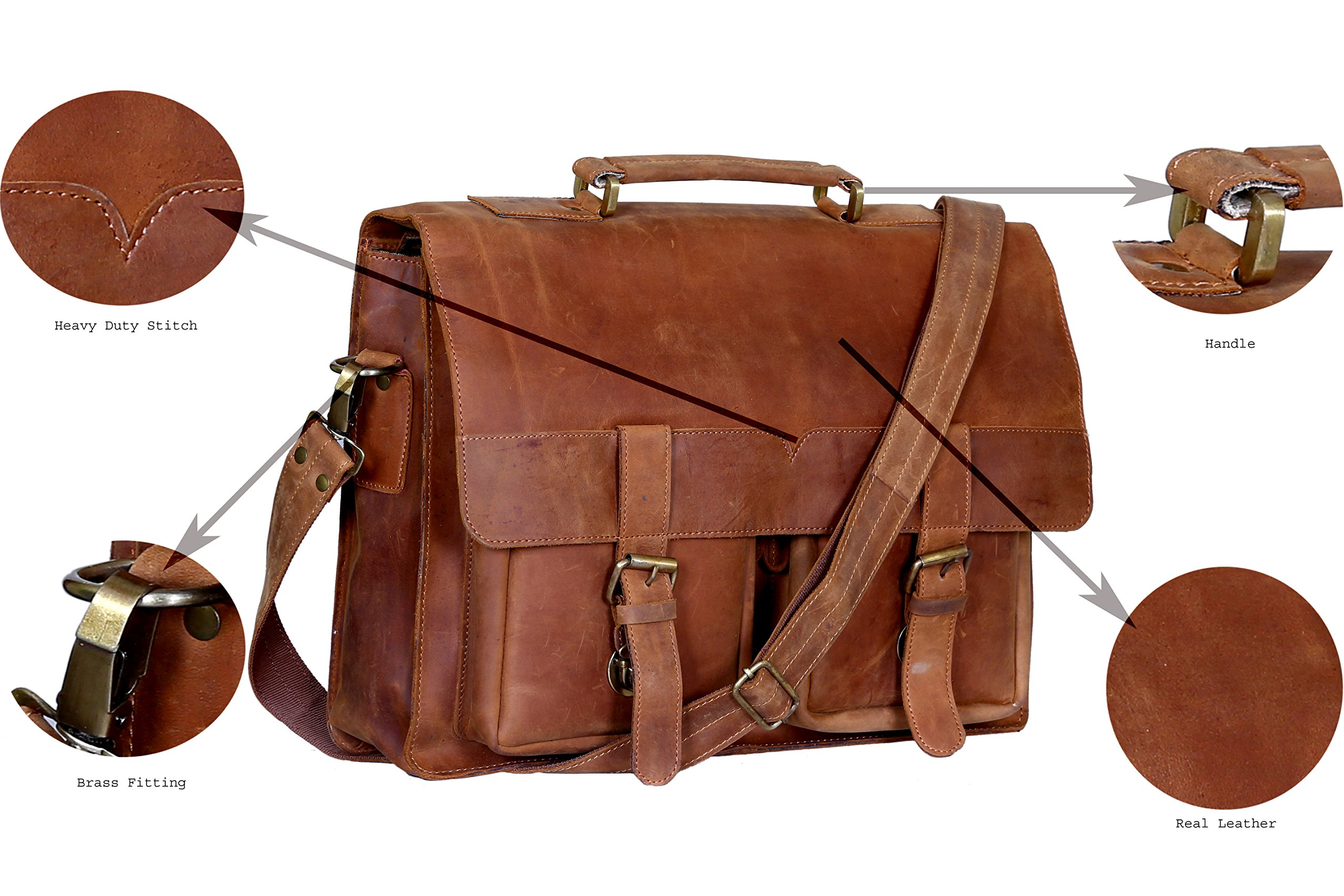 Leather messenger bag 16 inch Retro handmade buffalo hunter messenger bag Rugged & Distressed College School bag