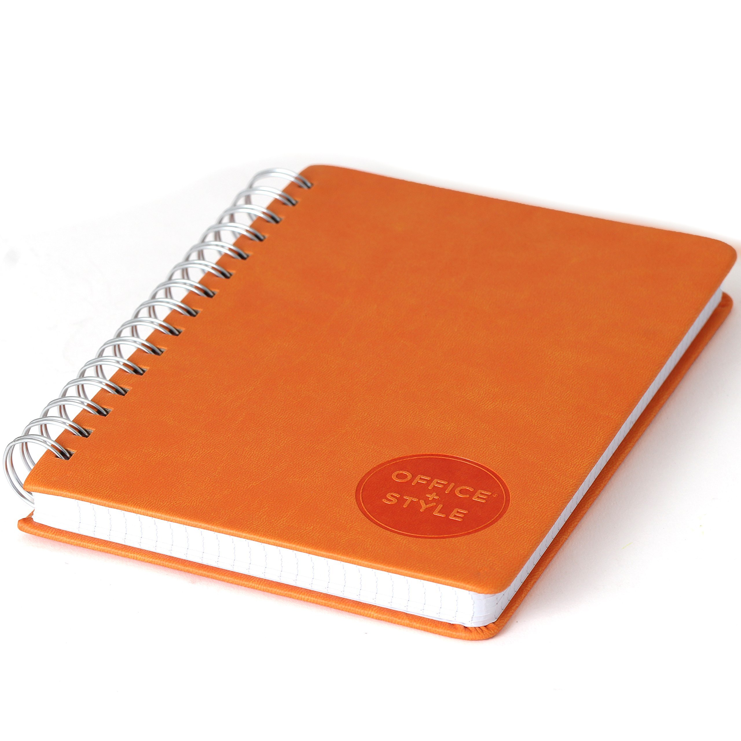 Office+Style PU Personal Graph Notebook with Double Spiral Binding, 96 Sheets, Orange (OS3-NBORG) by Office+Style (Image #3)