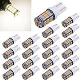 Aucan 20pcs Super Bright RV Trailer T10 921 194 42-SMD 12V Car Backup Reverse LED Lights Bulbs Light Width Lamp warm…
