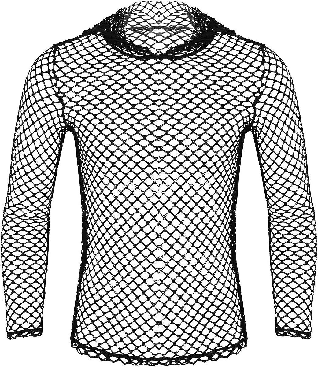 iiniim Camiseta de Malla Hombre Camisa Negro Fishnet Transparente Manga Larga Sudadera con Capucha Clubwear Apretada Muscular Ajuste para Hombres M-XXL: Amazon.es: Ropa y accesorios
