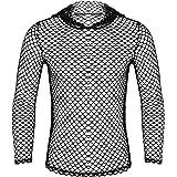 Agoky Herren Langarmshirt Netzshirt Netzhemd Hoodie Männer Sexy T-Shirt Tops Transparentes Muskelshirt Clubwear M-XXL