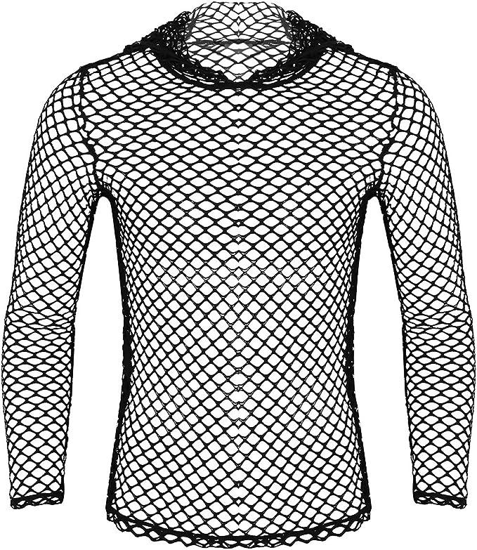 iiniim Camiseta de Malla Hombre Camisa Negro Fishnet Transparente Manga Larga Sudadera con Capucha Clubwear Apretada Muscular Ajuste para Hombres M- XXL: Amazon.es: Ropa y accesorios