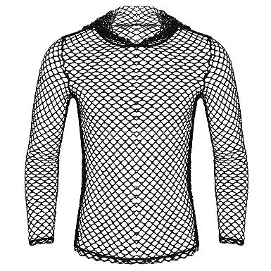 05f608f6d97381 CHICTRY Men s Mesh Fishnet Long Sleeve Transparent Tee Shirt Hooded Muscle  Top Black Medium