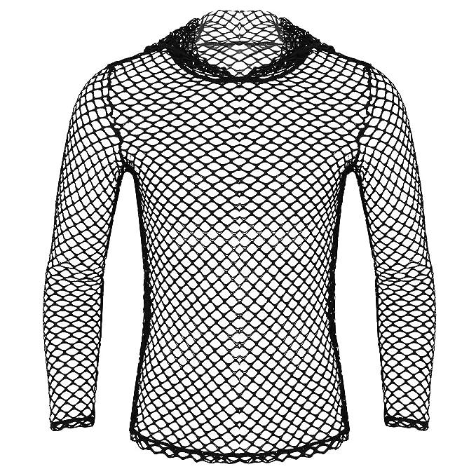 iiniim Camiseta de Malla Hombre Camisa Negro Fishnet Transparente Manga  Larga Sudadera con Capucha Clubwear Apretada Muscular Ajuste para Hombres  M-XXL  ... 0f187fa9b1714