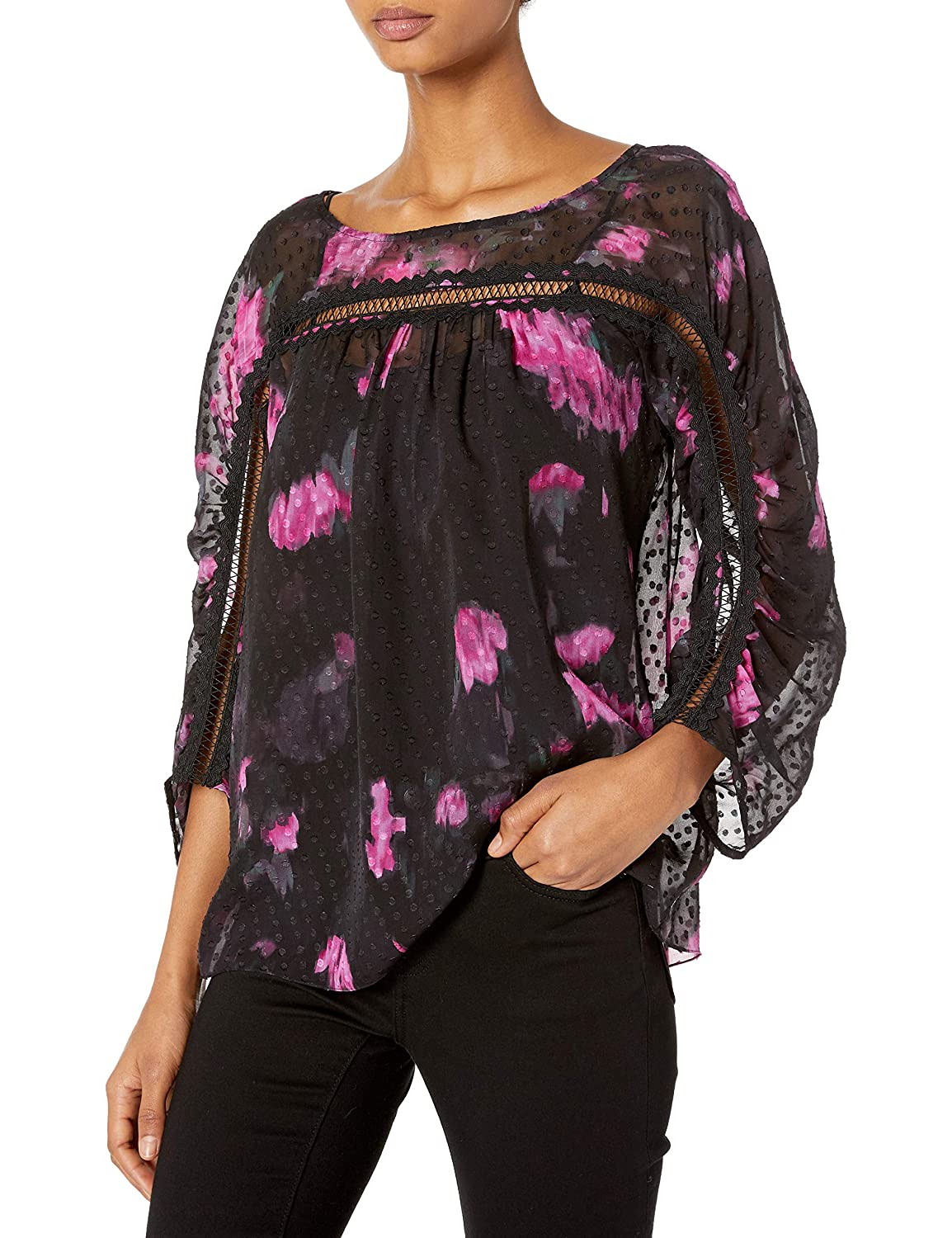 Tracy Reese Womens Shirred Blouse in Black Cactus Warm Floral