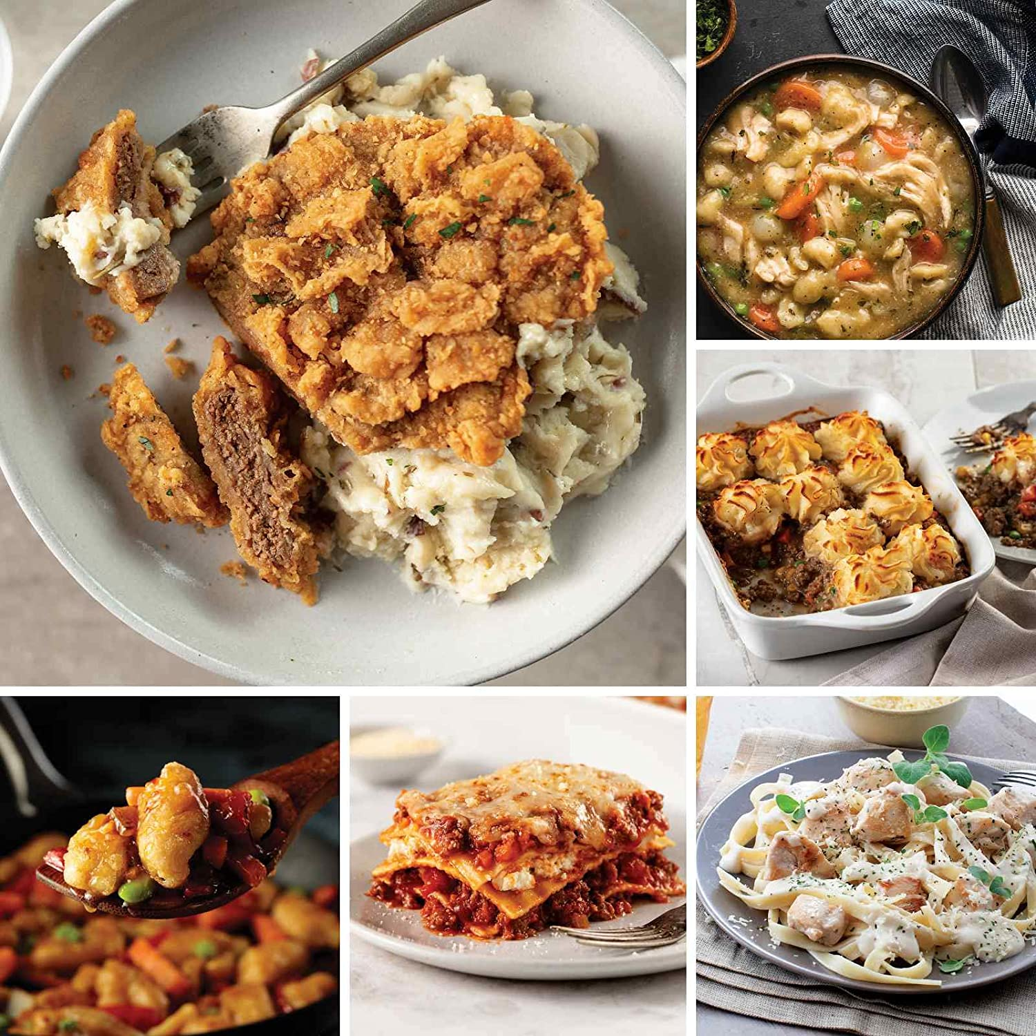 A Gift For Busy Families from Omaha Steaks (Filet Mignon Stroganoff, Slow Cooker Meal: Chicken and Dumplings, Chicken Fettuccine Alfredo, Skillet Meal: Tempura Orange Chicken, and more)