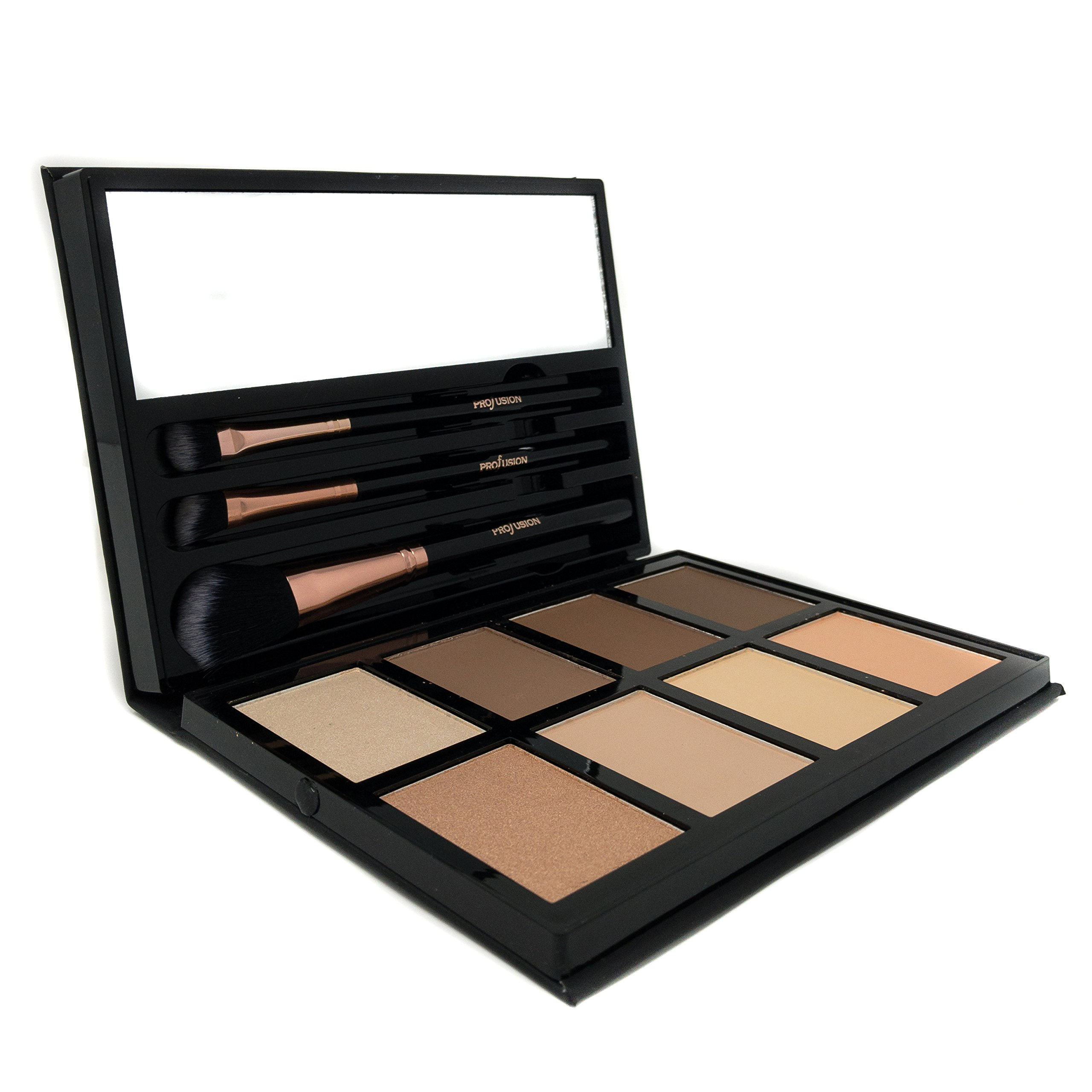 Profusion Cosmetics - Contour - Professional 8 Color Palette - Face Powder Highlighter Bronzer Makeup Kit Brushes Included - Champagne Highlight Nutmeg Ivory Peach Pale Gala Moonstone Java Ebony by Profusion Cosmetics (Image #1)