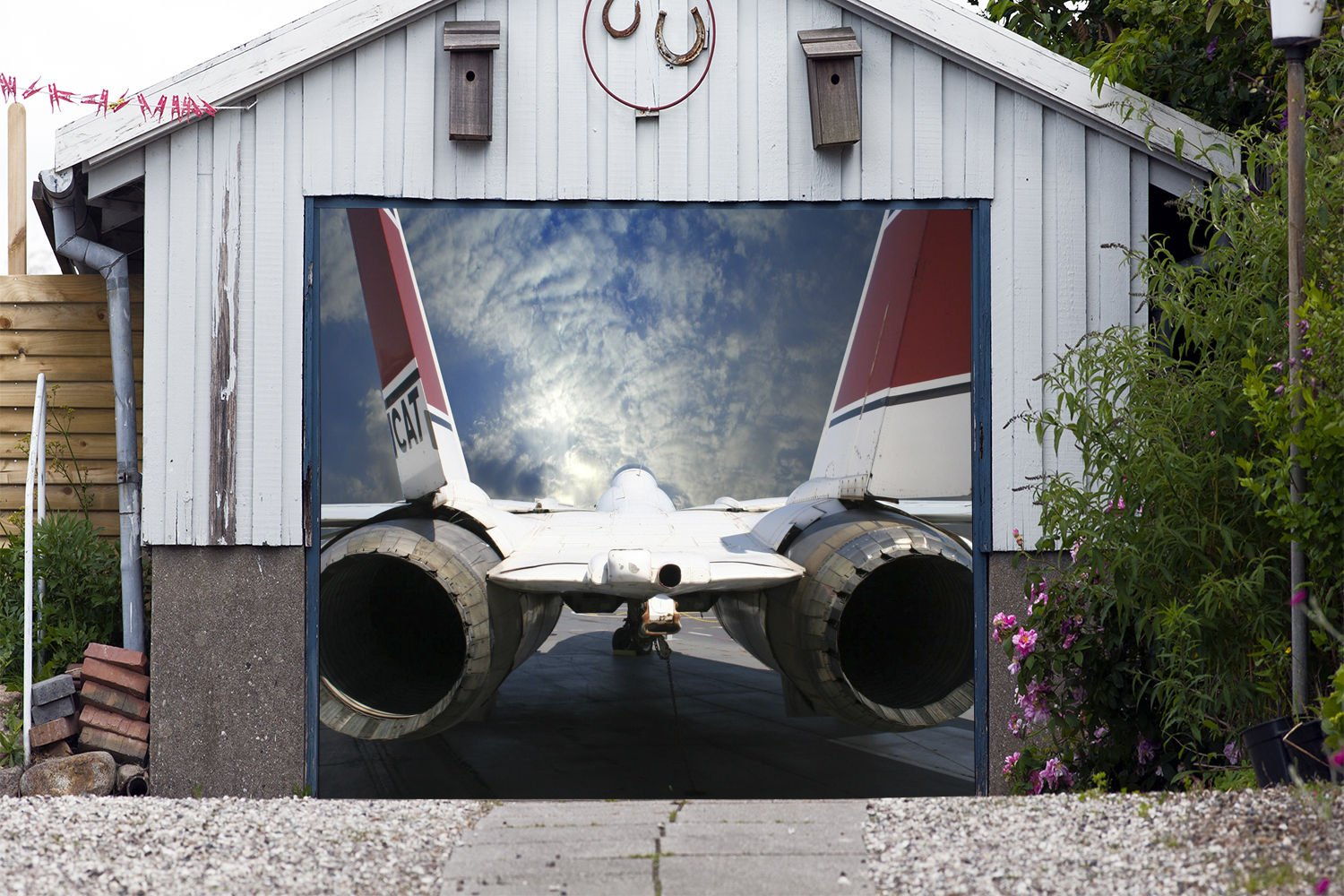 PLANE Banner Single Garage Door Covers Billboard Airplane Full Color 3D Effect Print Door Decor Garage Mural Made in the USA Size 83 x 96 inches DAV174