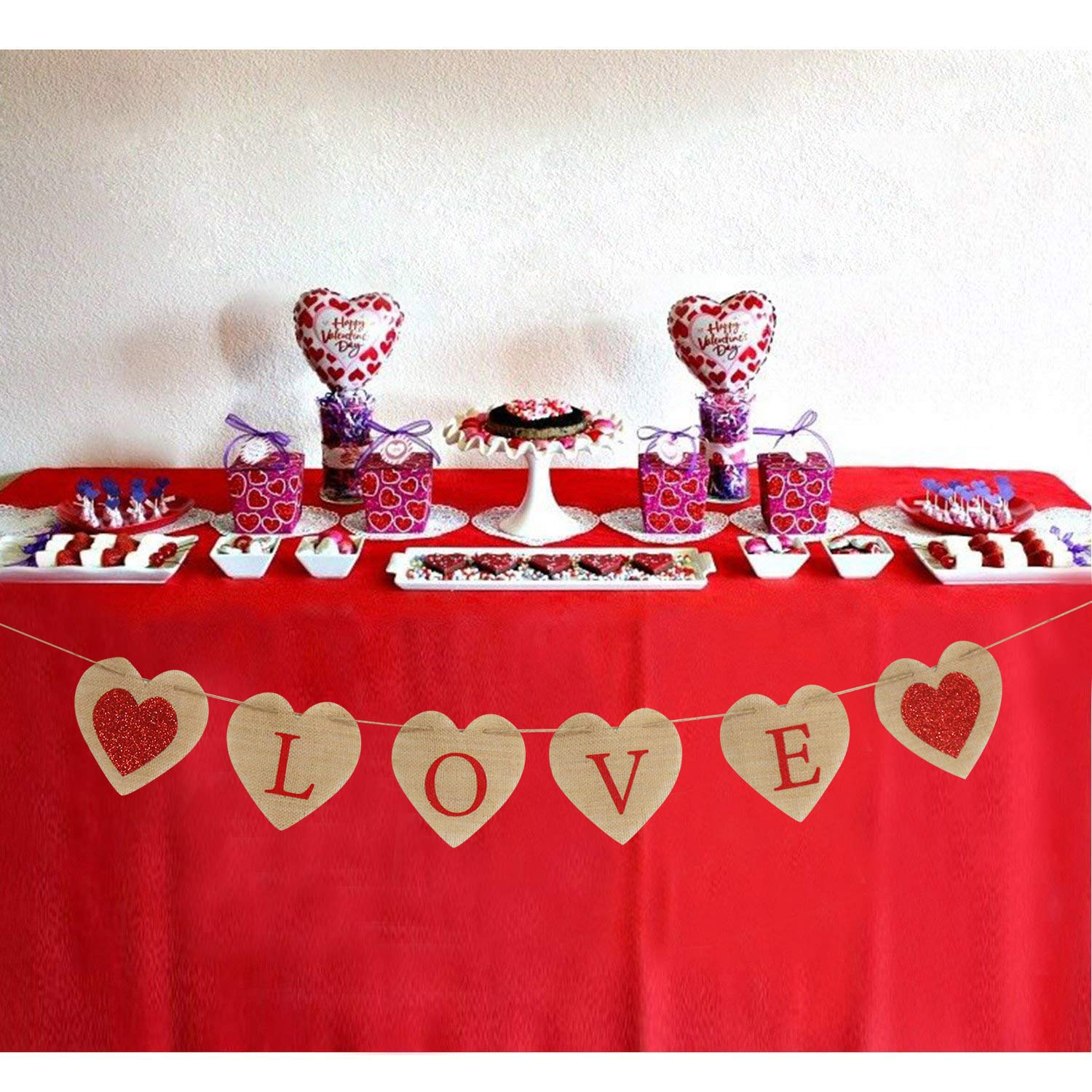 Valentines Love Banner Rustic Love Banner Heart Banner Love Burlap Banner Valentines Burlap Banner Valentines Day Decor/ Partyprops