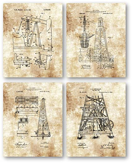 Oil Wells Drilling Rig Equipment Drawings Artwork - Set of 4 8 x 10  Unframed Patent Prints - Great Gift for Petroleum Industry Workers - Gas  Station