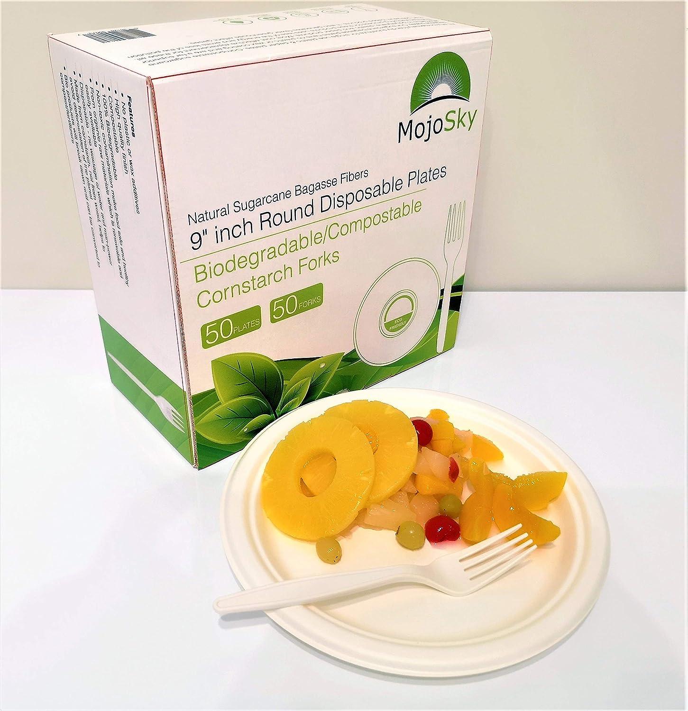 Paquete de 50 platos desechables ecológicos y compostables de 9 ...