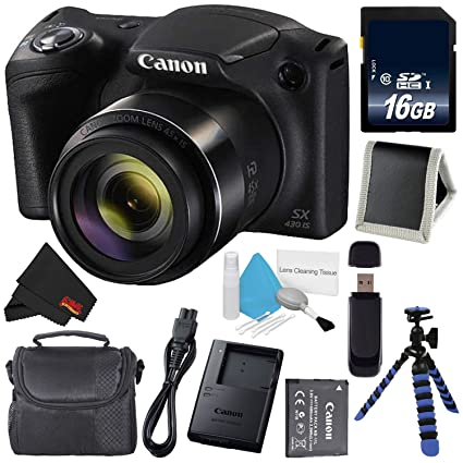 fde1146a6 Canon Powershot SX430 IS Digital Camera (Black) (International Model) + 16GB  SDHC Class 10 Memory Card + Small Soft Carrying Case + Memory Card Wallet +  SD ...