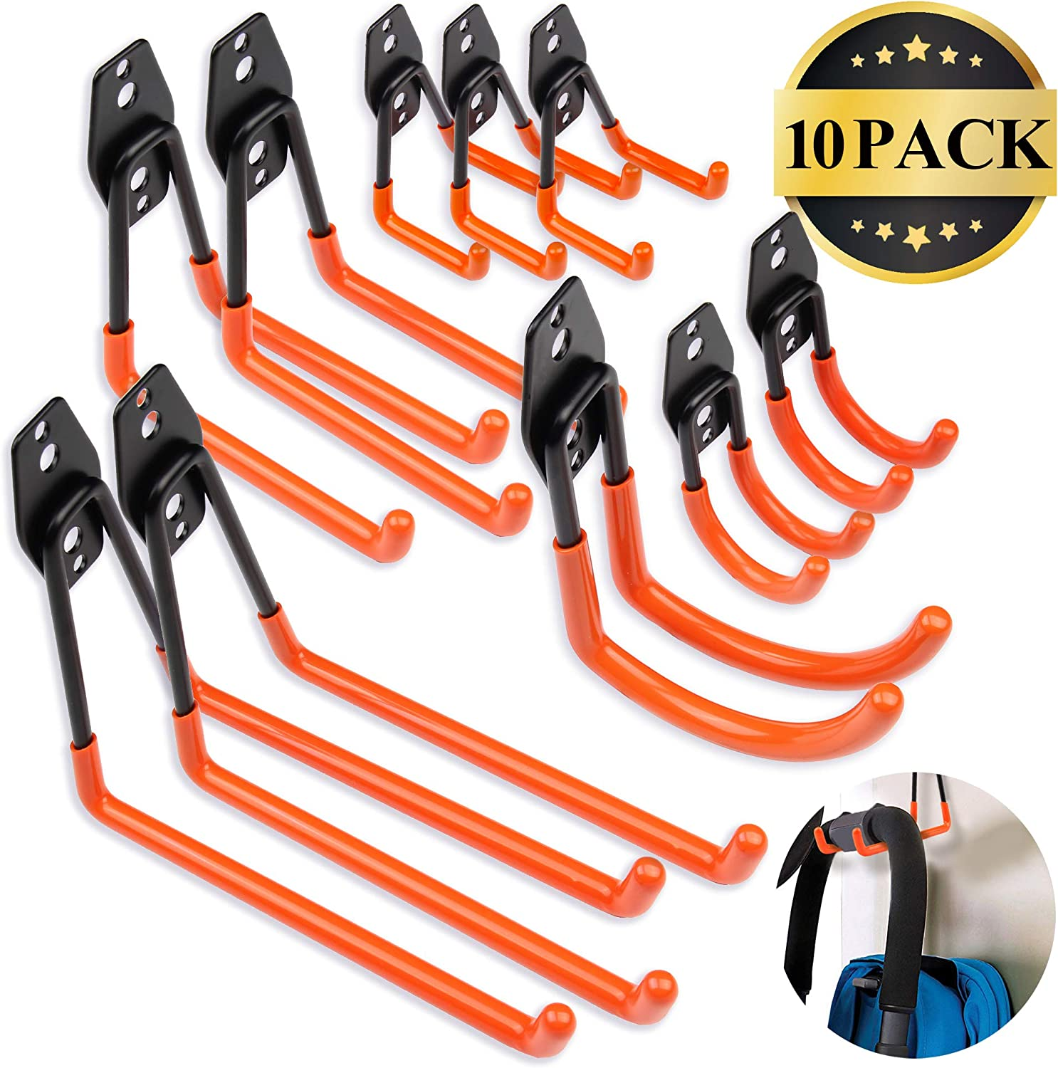Steel Garage Storage Utility Double Hooks, Easy to Install Wall Mount Heavy Duty Hangers for Organizing Large Power Tools, Anti Slip Design Holding Ladders, Chairs, Bikes, Ropes, Bulk Items, 10 Pack