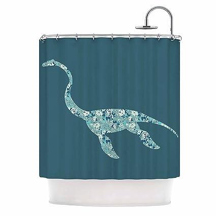 Amazon KESS InHouse Alias Nessie Teal White Shower Curtain