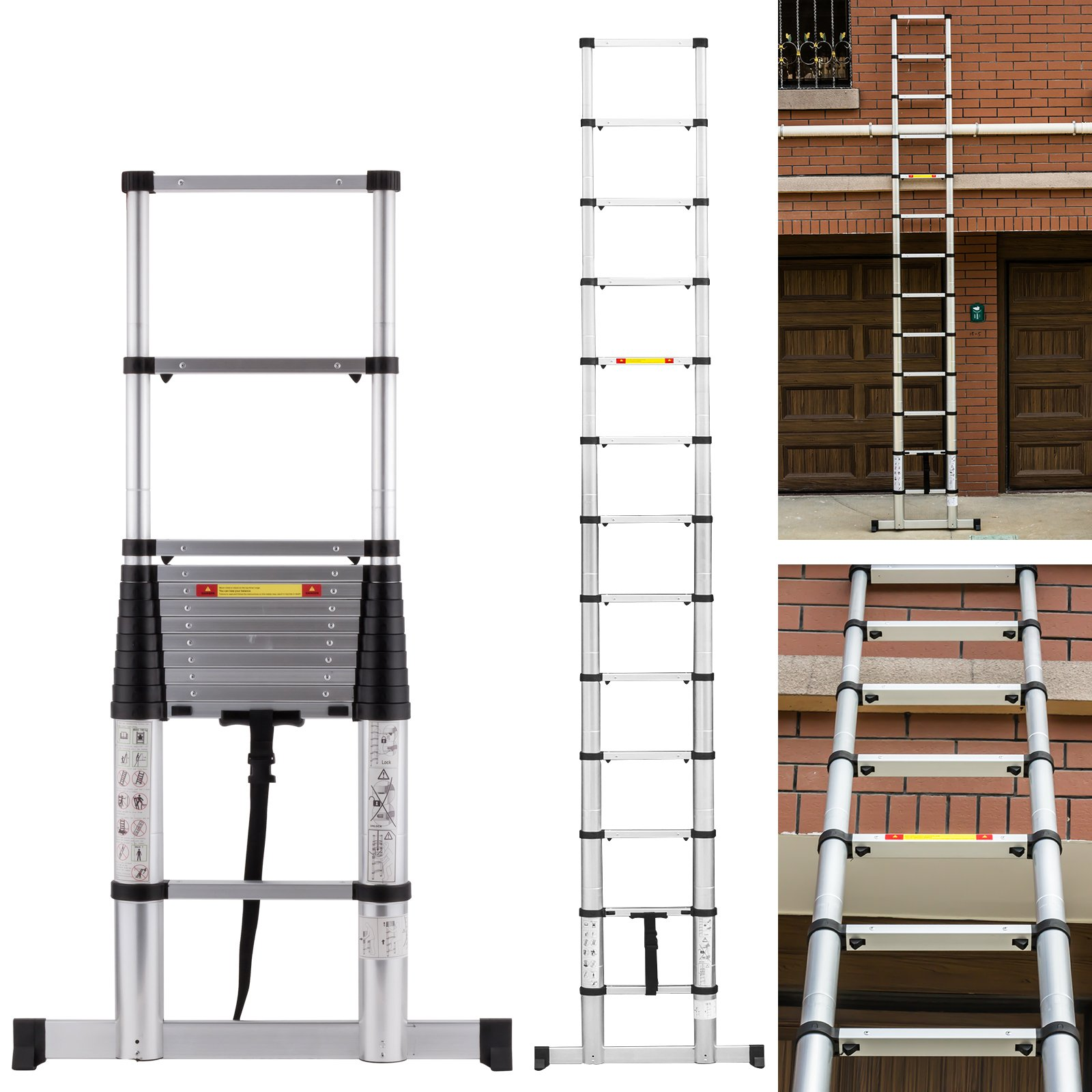 12.5ft EN131 13 Step Profession Telescoping Extension Ladder Aluminum Telescopic Multi Purpose ladder by Idealchoiceproduct