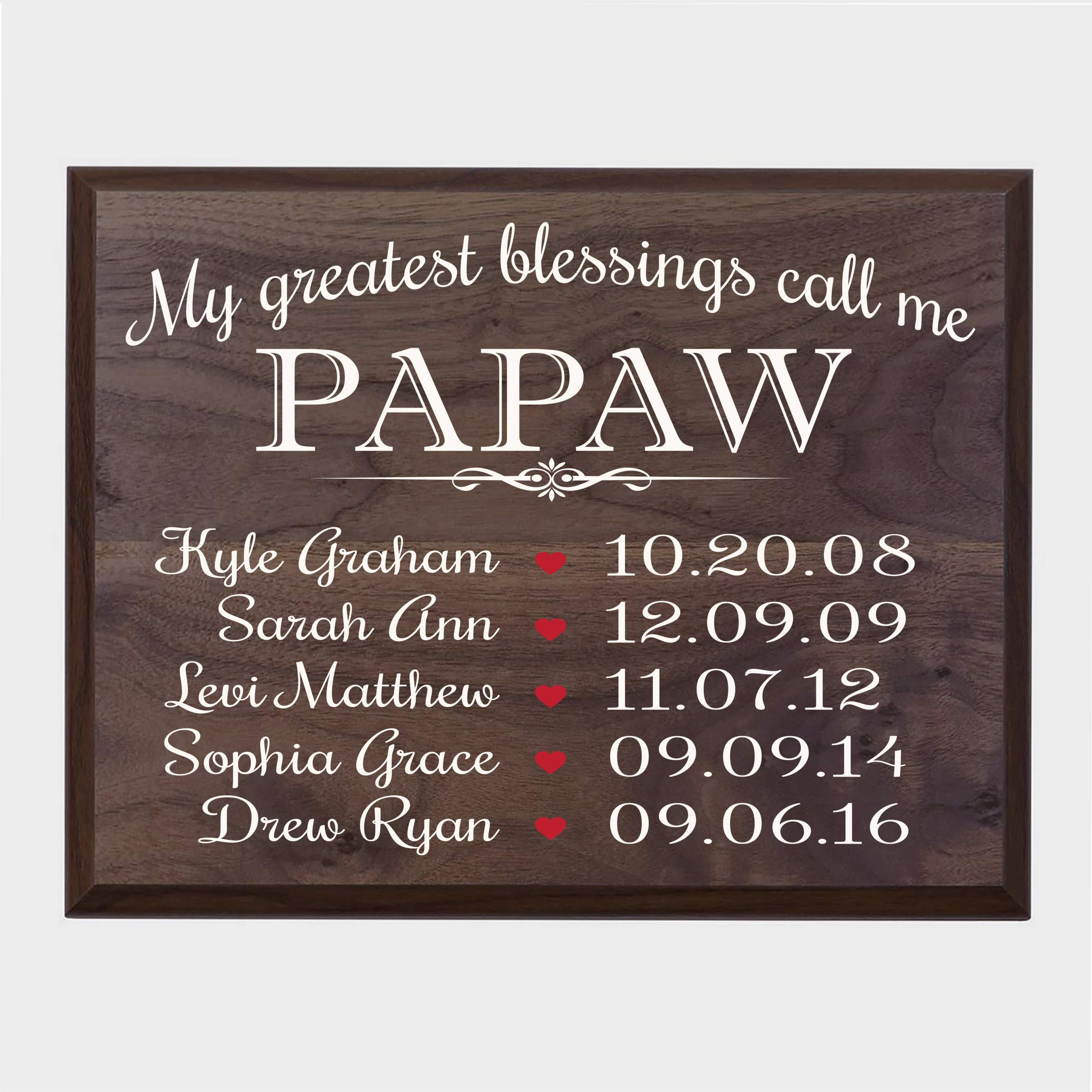 LifeSong Milestones Personalized Gifts for Papaw Wall Plaque Sign with Children's Names Birth Dates to Remember My Greatest Blessings Call me Papaw (Walnut) by LifeSong Milestones (Image #1)