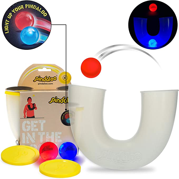 pindaloo Skill Toy +2 Led Light Up Balls. Challenged and Excited Gift for Teens and Kids. Lots of Fun, for Indoor and Outdoor Play. Bonus American Flag Face Mask