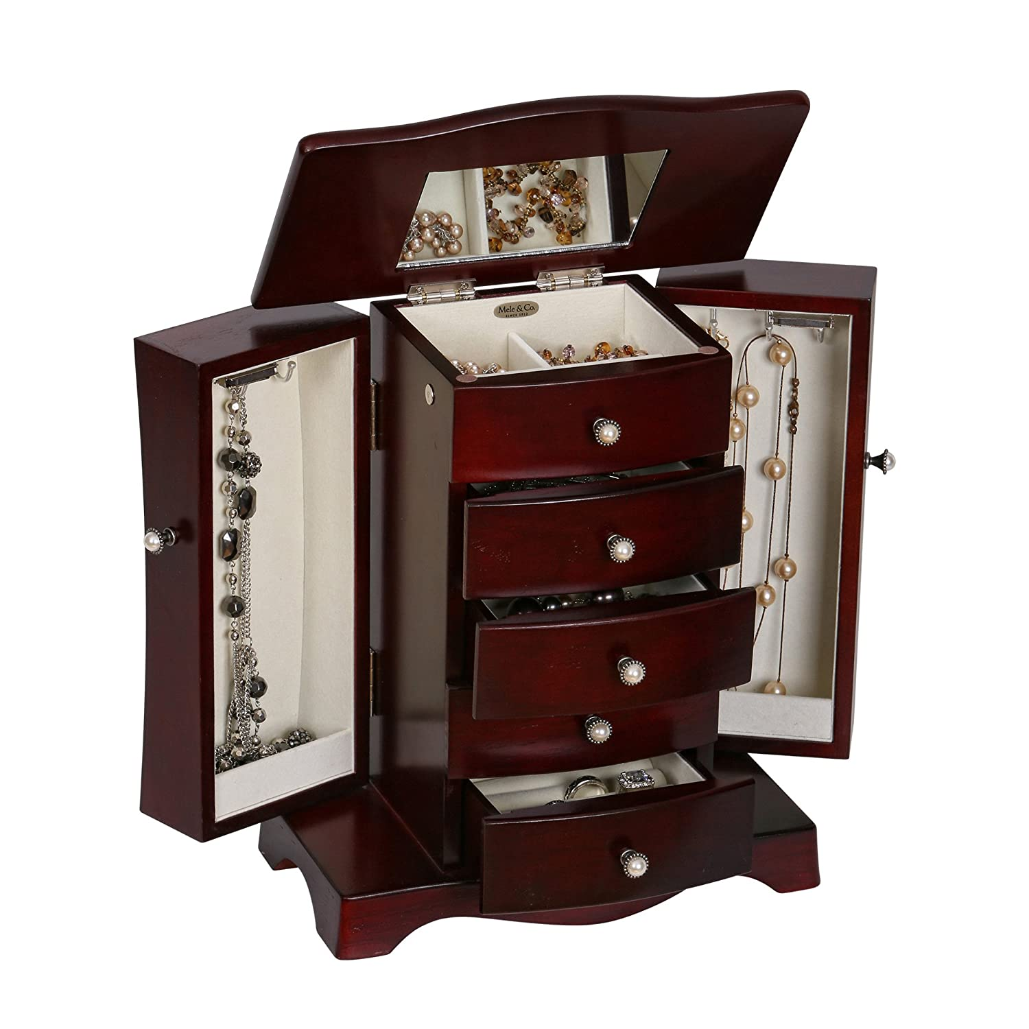 Amazoncom Mele Co Bette Wooden Jewelry Box Mahogany Finish