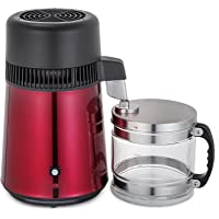 Moracle Destilador de Agua de Acero Inoxidable 750W Destilación de Agua Destilador de Agua de 4 L para el Hogar Encimera con Botella de Conexión Recipiente de Vidrio de Salida de Calidad Alimentaria