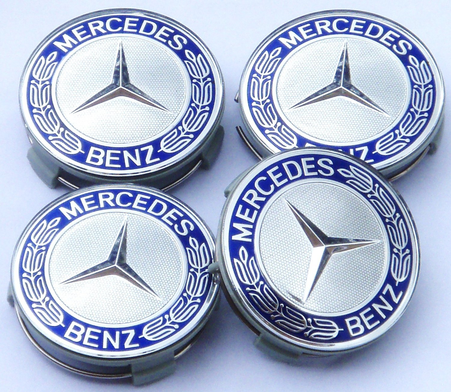 UK 4x Mercedes Benz Alloy Wheel Centre Caps 75mm Badges Blue Hub Emblem