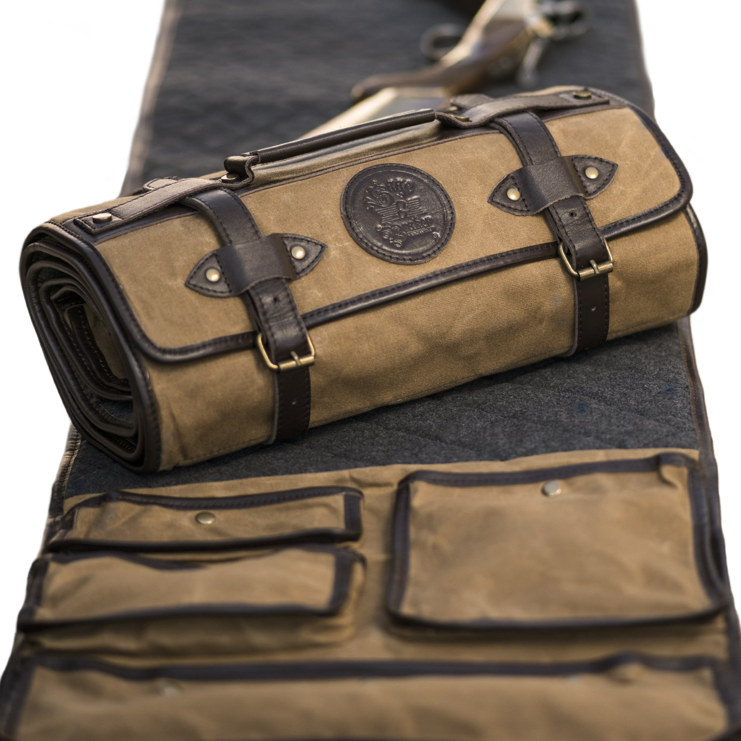 GUN CLEANING MAT by Sage and Braker. Made From Waxed Canvas, Wool and Leather. by Sage and Braker Mercantile