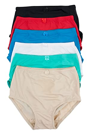 b1a72acdb Barbra Lingerie Women s 6 Pack Basic High Waist Brief Underwear Panties  (large)