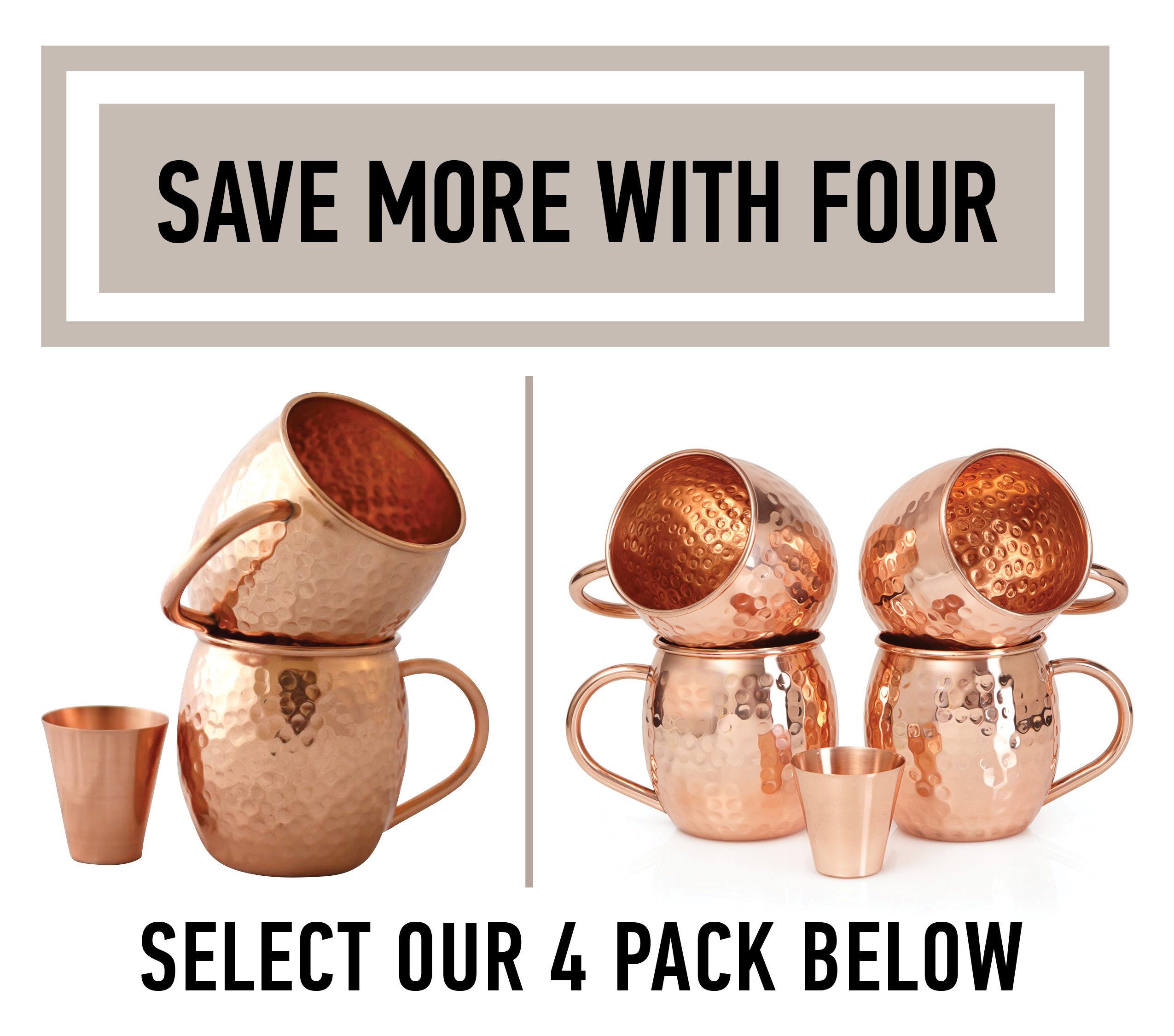Set of 2 Moscow Mule Copper Mugs with Shot Glass - Two 16 Oz Copper Moscow Mule Mugs - Solid Copper Hammered Mug - Copper Cups for Moscow Mules by Willow & Everett (Image #2)