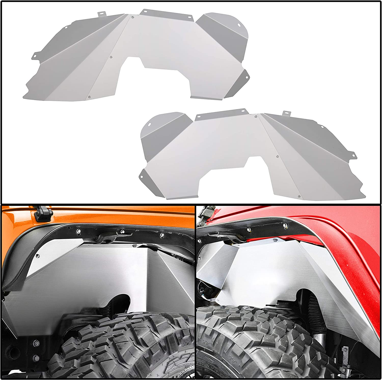 ECOTRIC Solid Front Aluminum Inner Fender Compatible with 07-18 Jeep Wrangler JK JKU 2 Door & 4 Door Silver Splash Guards