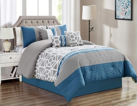 104X90 Dark Blue, King Angel Bedding 3-Piece Washed Quilt Bedspread Coverlet Set