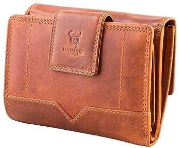5a371c04c8b89 MATADOR Damen Geldbörse Echt-Leder Geldbeutel Portmonee RFID Schutz Braun