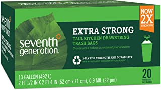 product image for Seventh Generation Trash Bags, Tall Kitchen, 13-Gallon, 20-Count Boxes (Pack of 12)