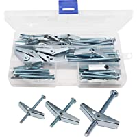Spring Loaded Hollow Wall Round Head Toggle Bolt Assortment Kit Toggle Bolts binifiMux 20-Pack Spring Wing Toggle Bolts Wing Nuts Assortment Kit