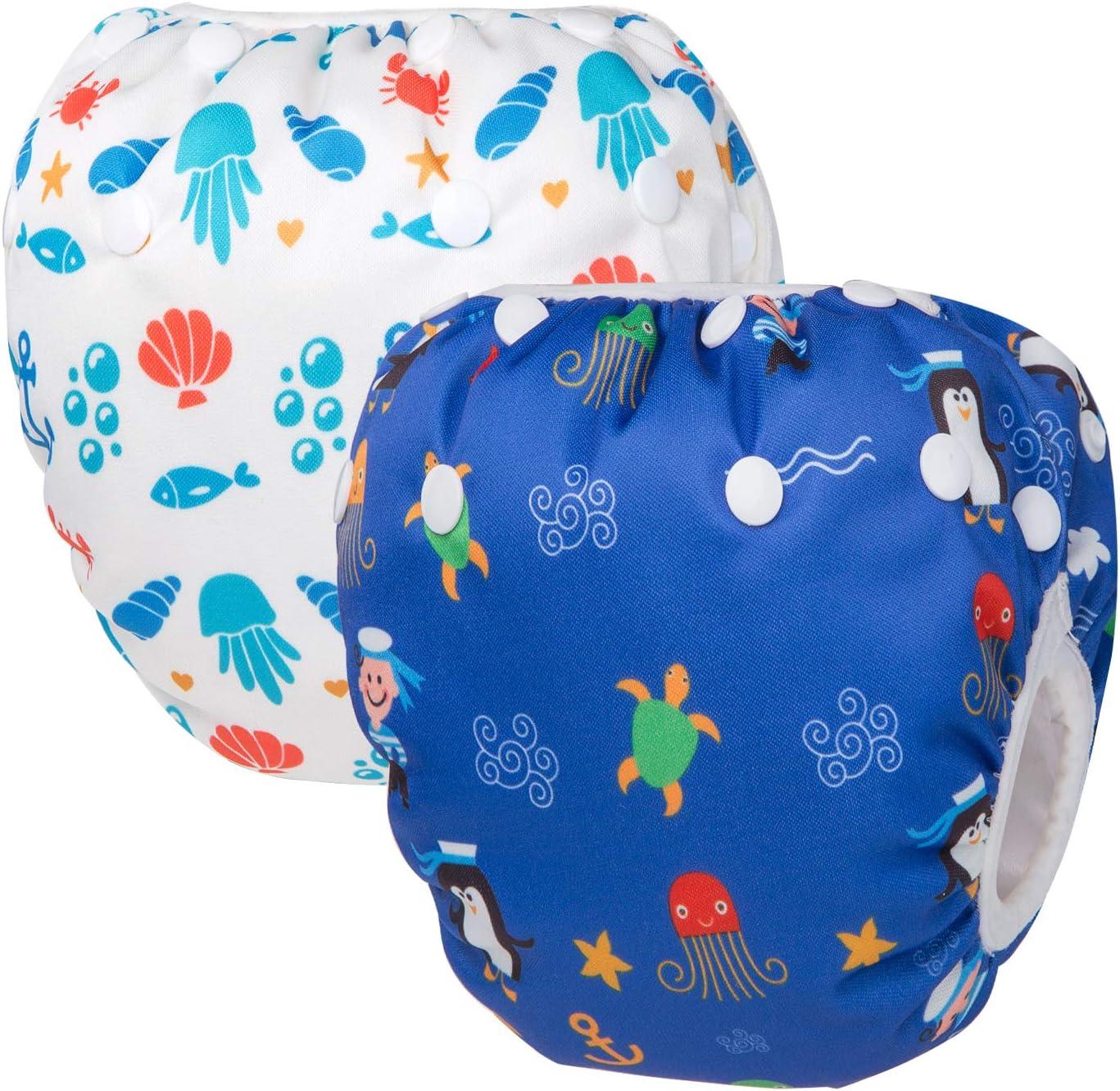 HBselect Pañal Bañador Bebe Reutilizable y Lavable,2 Pcs Pañales De Natación Dibujo Animado Botones Para Bebés Niños Niñas 0-2 Años
