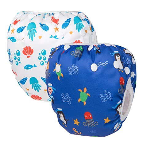 Adjustable Diaper Swim for Toddlers 9 Months 3 Years Old Anchor, Small 3 Pack for Swimming Lessons Pedobi Reusable Baby Swim Diapers