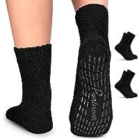 Pembrook Non Skid/Slip Socks - (2 Packs) - Hospital Socks - Fuzzy Slipper Gripper Socks