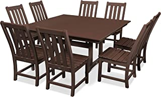 product image for POLYWOOD Vineyard 9-Piece Farmhouse Dining Set (Mahogany)