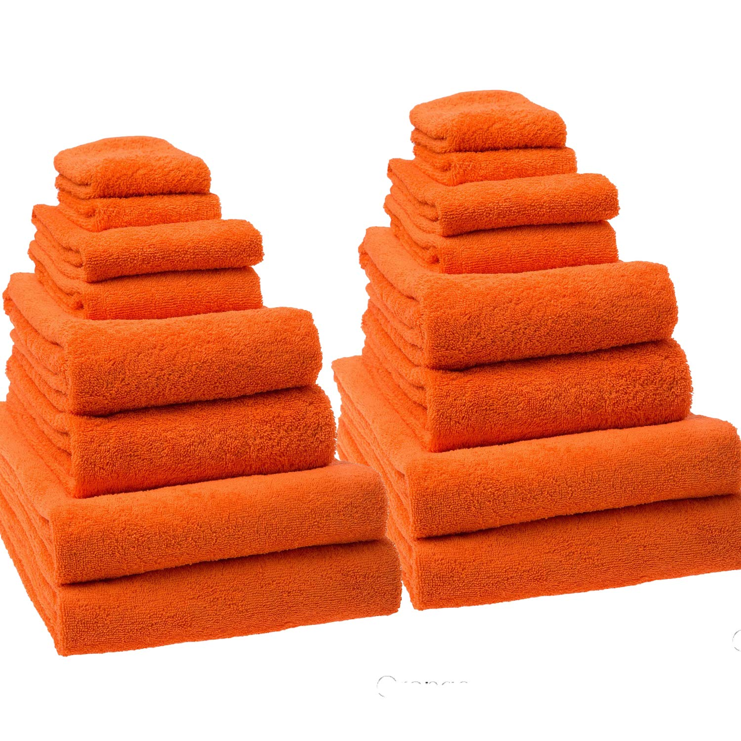 Classic Turkish Towels 16 Piece Bath Towel Set - Includes Oversized Bath Sheets, Bath Hand and Washcloth Towels Made with 100% Turkish Cotton (Orange)