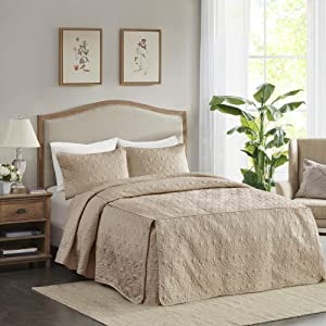 """Madison Park Fitted Bedspread Classic Traditional Design All Season, Lightweight, Bedding Set, Matching Shams, Queen(60"""" x80+24D), Quebec, Damask Quilted Khaki"""