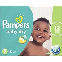 Diapers Size 5 - Pampers Baby Dry Disposable Baby Diapers, 150 Count, Economy Pack Plus