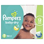 Pampers Diapers Size 5, Baby Dry Disposable Baby Diapers, 150 Count, Economy Pack Plus