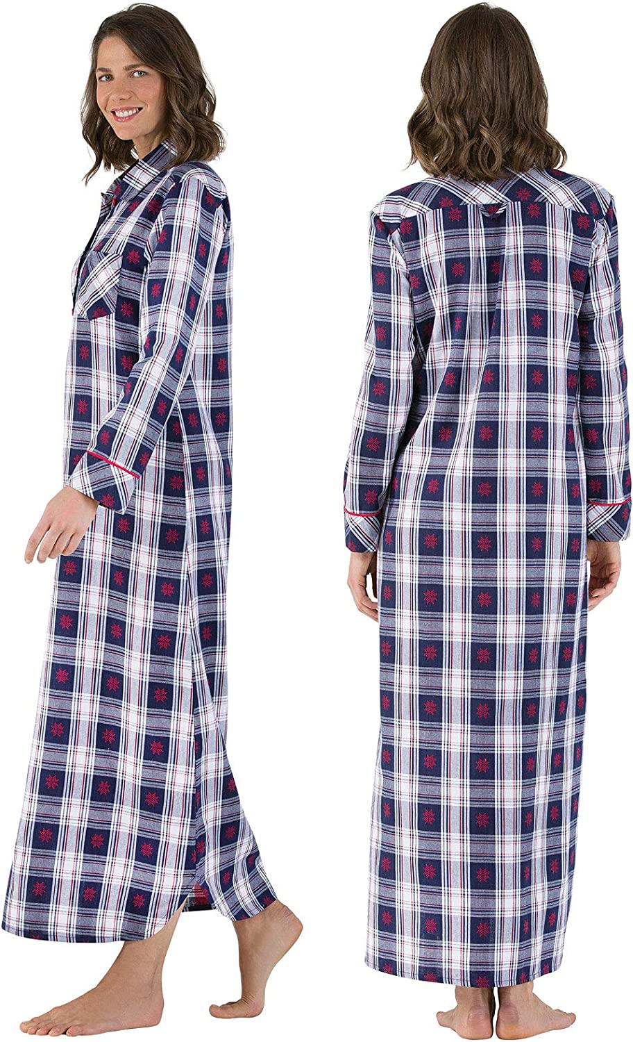 Cotton Flannel Nightgown Womens PajamaGram Womens Flannel Nightgown Plaid