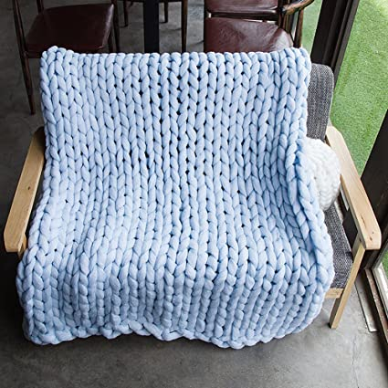Yunhigh Chunky Knit Blanket Throw Giant Hand Knitted Soft Crochet